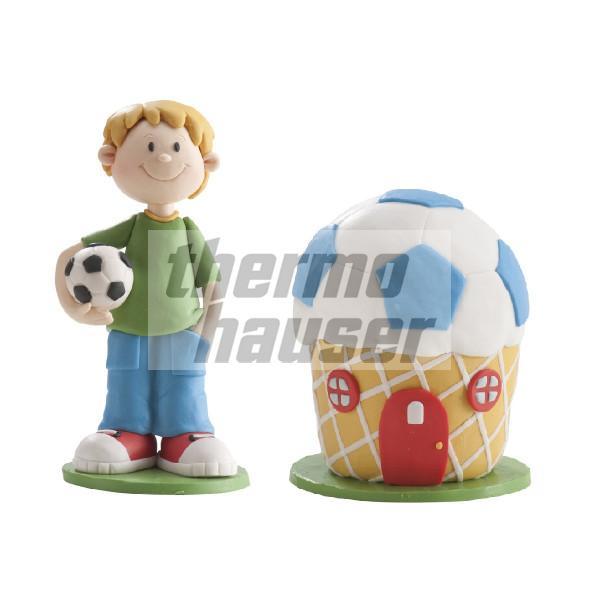 Tortenfiguren-Set Junge mit Fußball-Muffin