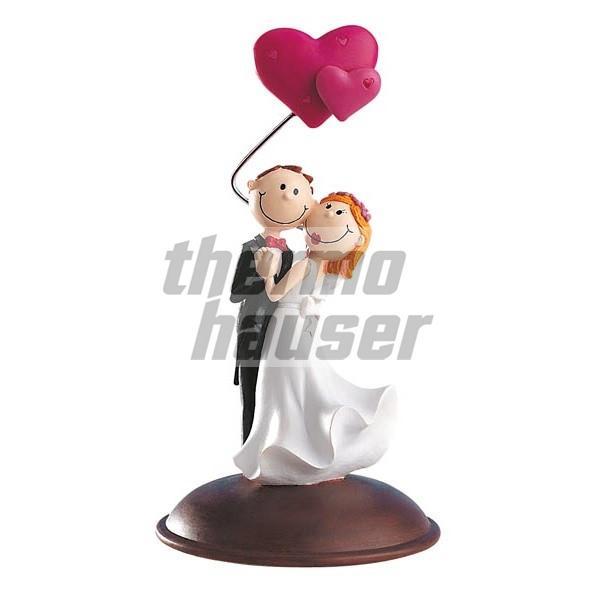Tortenfigur Brautpaar mit Herzluftballons