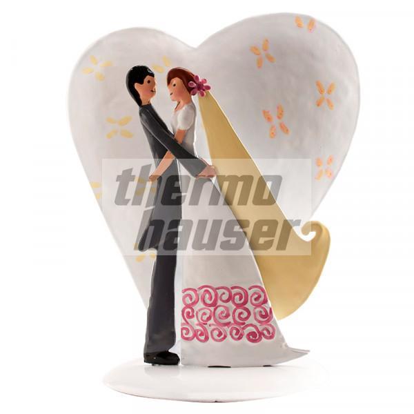 Dekofigur Brautpaar mit großem Metallherz